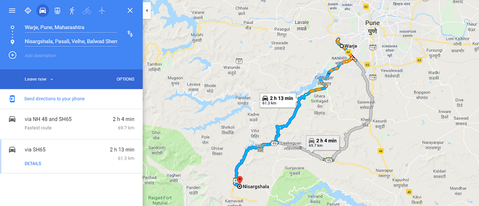 route to take to camp near Pune